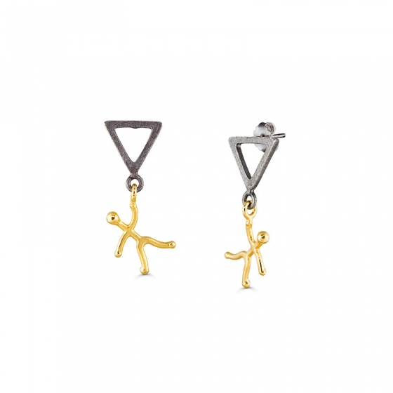Playful earrings with a man holding on a triangle stud.