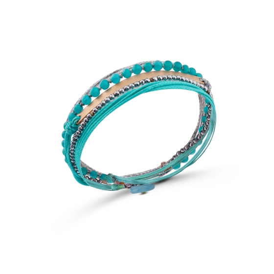 Turquoise and silver cord bracelet with a rose gold bar, turquoise and hematite stones hand-knotted with thread and button closure.
