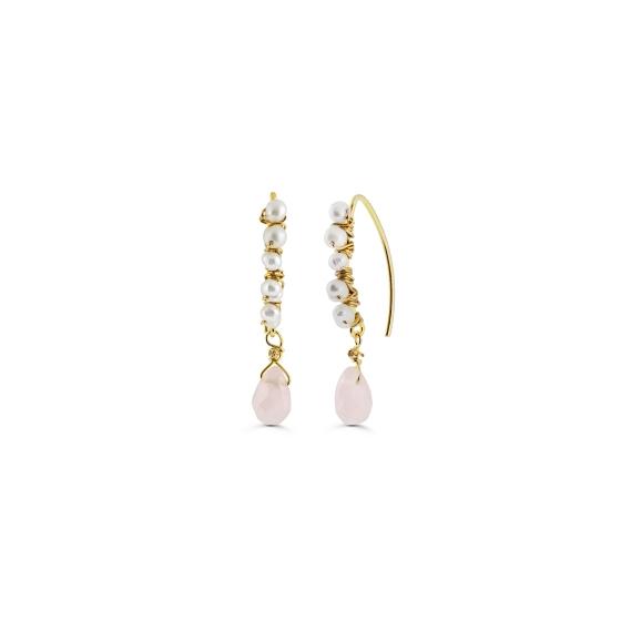 Κρεμαστά σκουλαρίκια με μια πέτρα ροζ χαλαζία σε κοπή σταγόνας και  μαργαριτάρια πλεγμένα με ασημένιο σύρμα 6d1a856c833