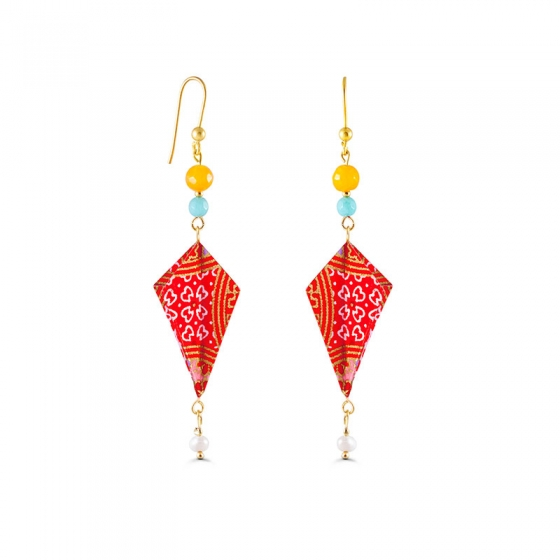 Elegant diamond shaped origami earrings in an intense orange colour and semiprecious stones
