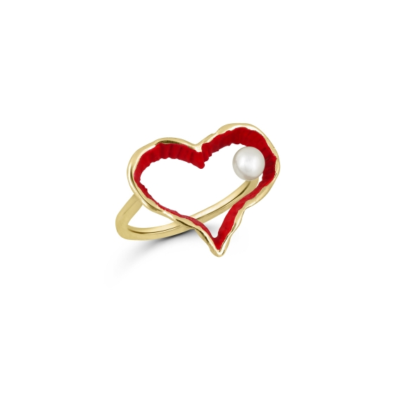 Red Heart Hand painted red heart Ring