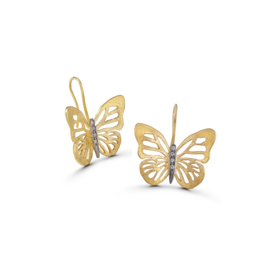 Beautiful gold and zircon butterfly dangle earrings - Spring is here!