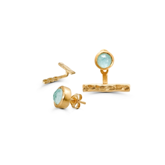 Elegant and unique jacket earrings with a round faceted bezel set Amazonite-Quartz doublet stone and a gold hand hammered bar.