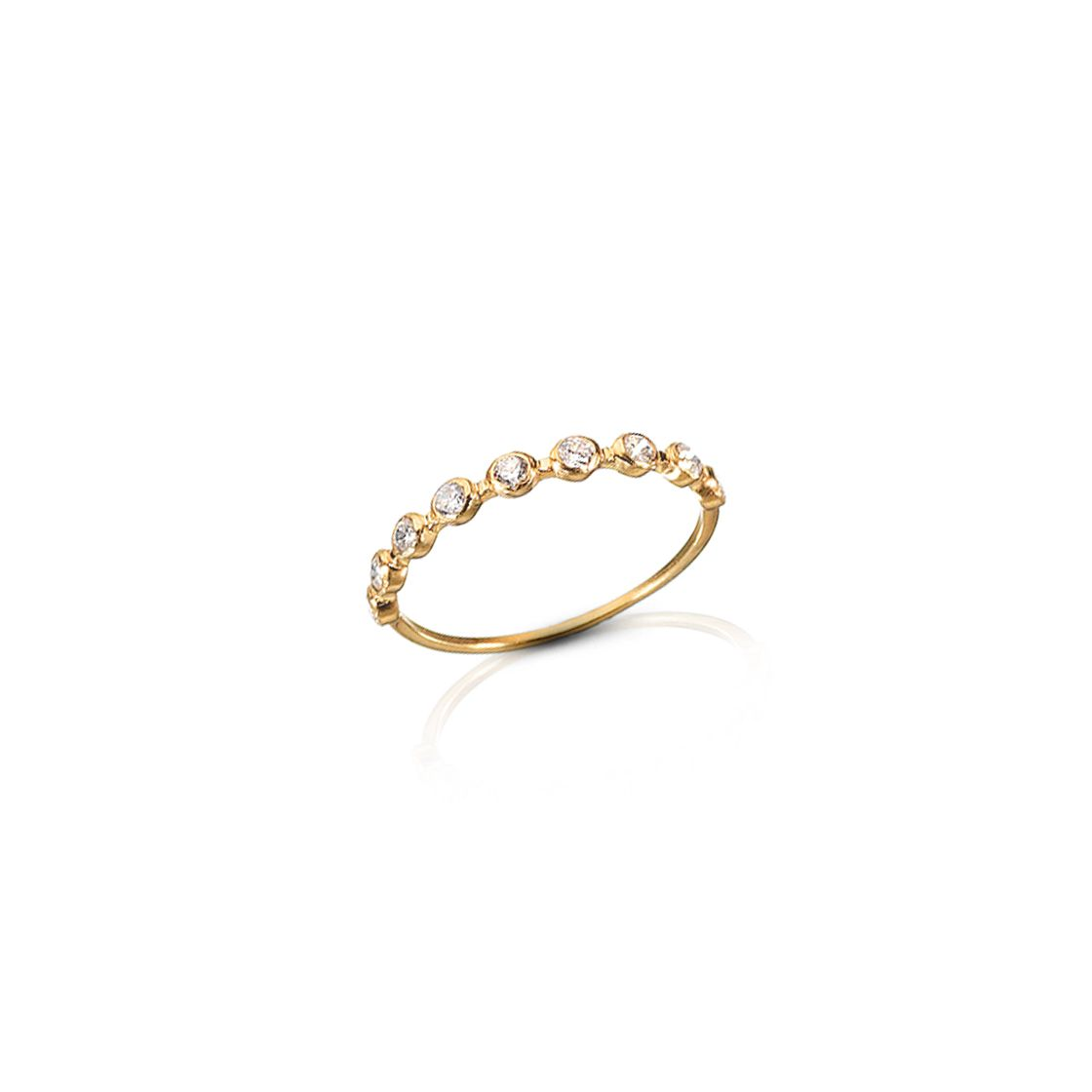 Simple and elegant gold band with zircon stones.