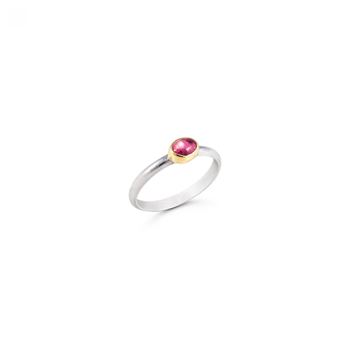 18kt gold bezel trace the shape of this cute oval tourmaline stone on a sterling silver band