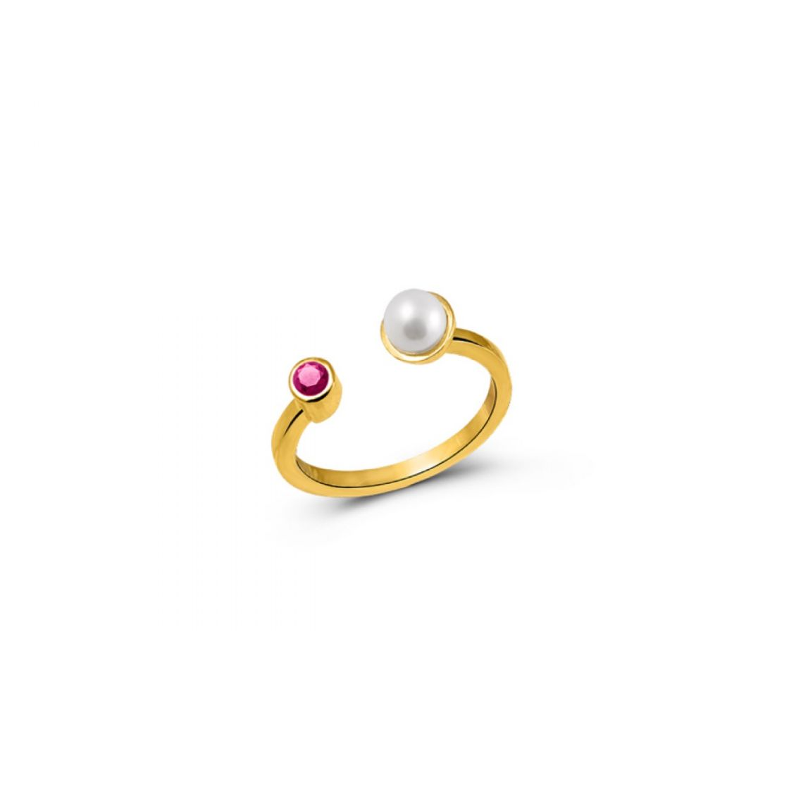 Adjustable elegant ring with a pearl and a bezel set red zircon stone.
