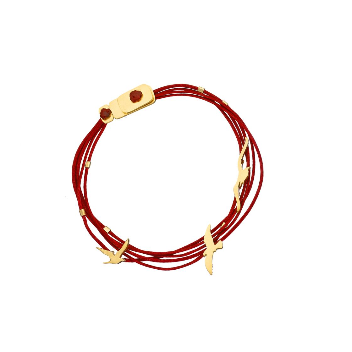 Gold seagulls tied to a multi strand of dark red cords