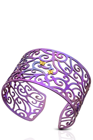 Iridescent lilac titanium bracelet with two gold butterfly details.