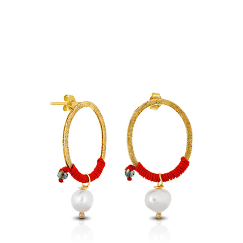 Gold hoop earrings with pearls, red macrame detail.