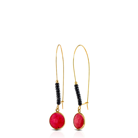 Gold oval hoop earrings with hematite stones and pink agate.
