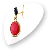 Drops Jewellery - Gold oval hoop earrings with hematite stones and pink agate.