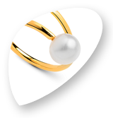 Drops Jewellery - Gold adjustable ring, with a heart outline and a pearl